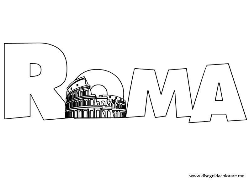 scritta roma disegni da colorare