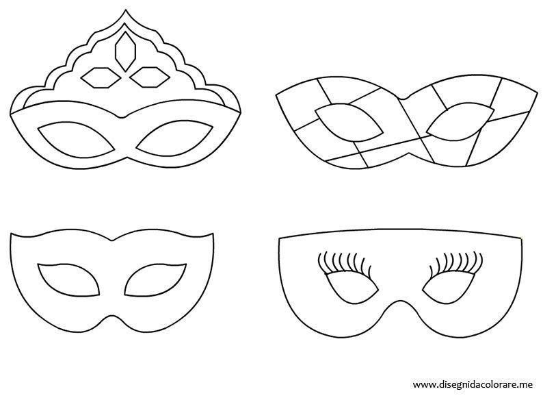 mascherine di carnevale da colorare
