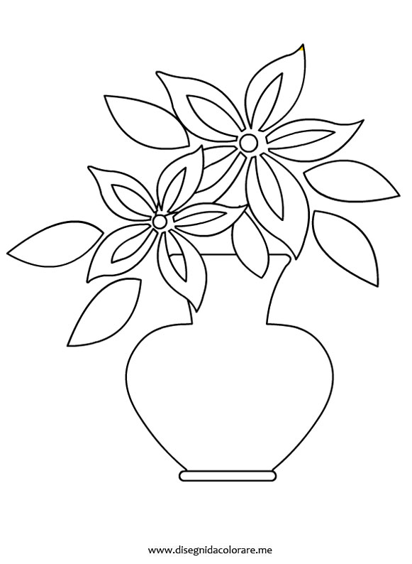 Vaso con fiore disegni da colorare for Disegno vaso da colorare