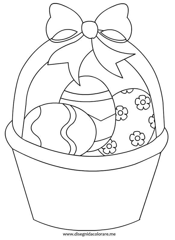 cesto con uova di pasqua disegni da colorare