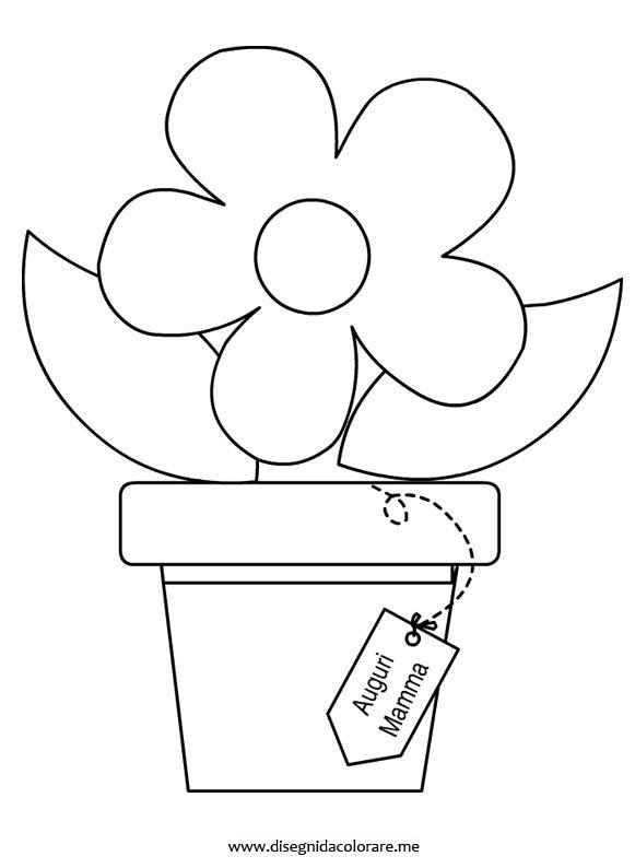 Vaso con fiore da colorare disegni da colorare for Disegno vaso da colorare