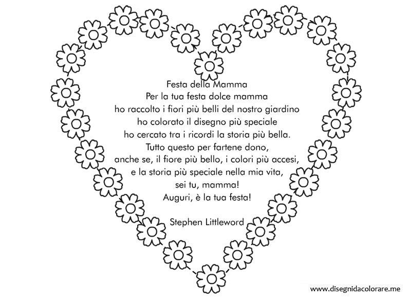 Bien-aimé Cuore con poesia per la Festa della Mamma | Disegni da colorare CT93