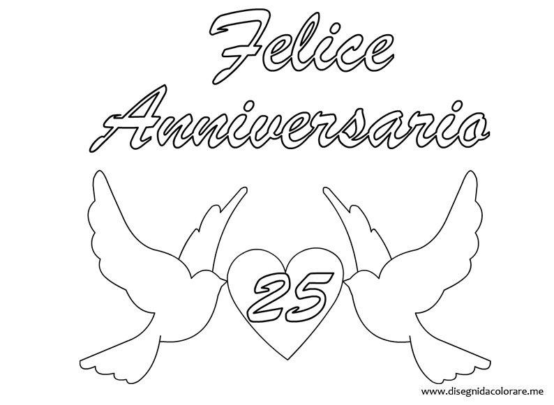 Favoloso Anniversario di Matrimonio – 25 anni | Disegni da colorare AS43