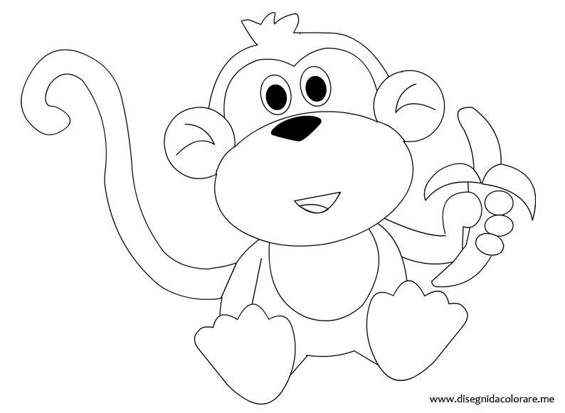 Scimmia con banana da colorare disegni da colorare for Immagini giraffa per bambini