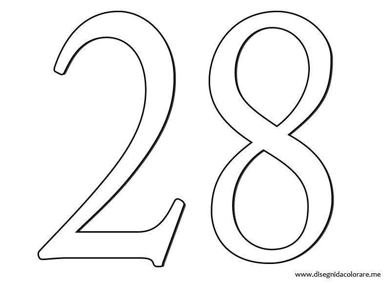 Eccezionale Numero 28 | Disegni da colorare BW28