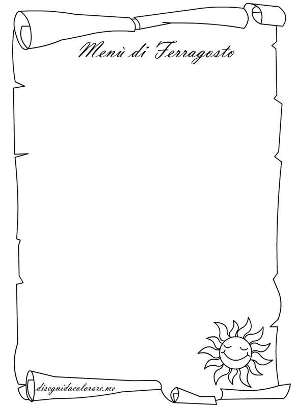spesso Pergamena – Menù di Ferragosto | Disegni da colorare IU98