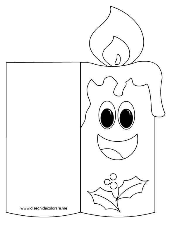 Biglietto di natale da colorare candela disegni da for Biglietti auguri natale da stampare