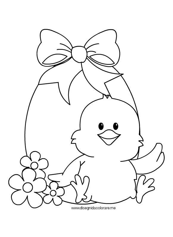 Preferenza Uovo di Pasqua con pulcino da colorare | Disegni da colorare YP21