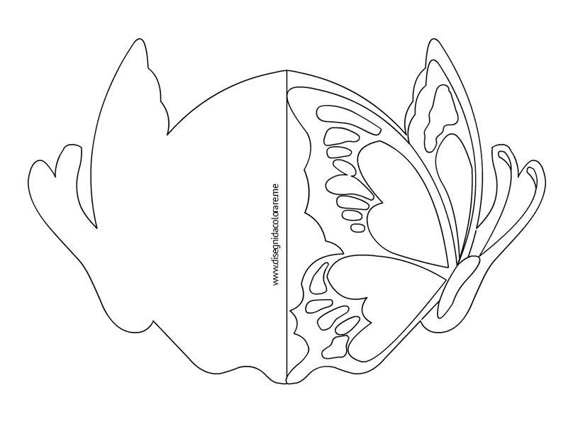 Biglietto con farfalla disegni da colorare for Immagini farfalle da ritagliare