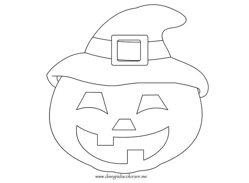 Zucca Halloween Da Colorare: Zucca Con Cappello Halloween