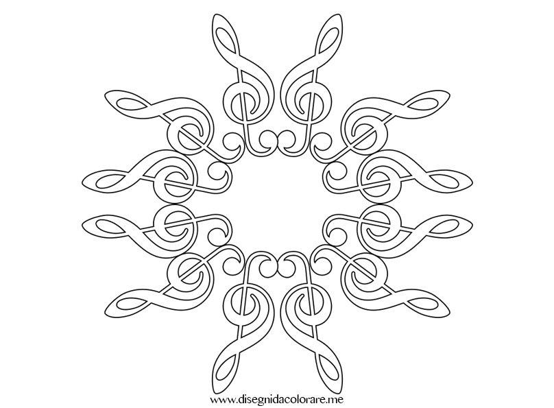 Fiocco di neve con chiave di violino disegni da colorare for Fiocco di neve da ritagliare