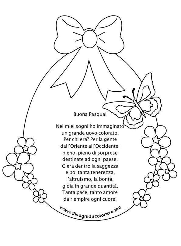 Disegni Da Colorare Di Buona Pasqua.Uovo Di Pasqua Con Filastrocca Buona Pasqua Disegni Da Colorare