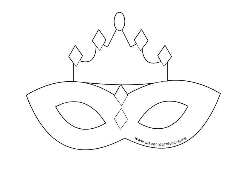 Maschera principessa con corona da colorare disegni da for Maschera di flash da colorare