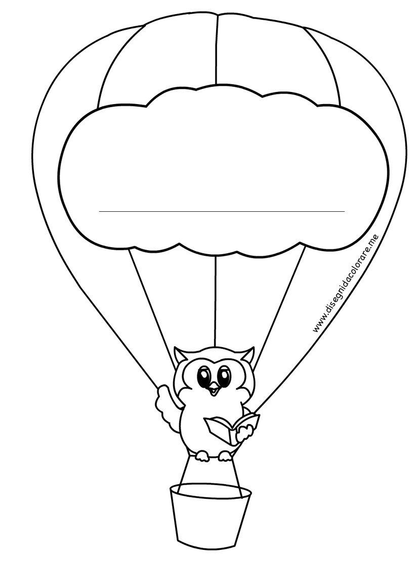 Mongolfiera portanome per accoglienza bambini disegni da for Disegni da stampare colorare e ritagliare