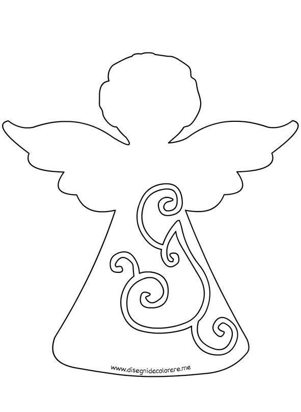 Angelo stilizzato sagoma per lavoretti disegni da colorare for Disegni angeli da colorare gratis