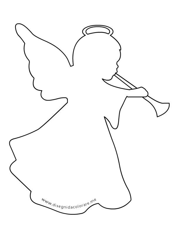 Sagoma angelo musicante per addobbi natale disegni da colorare - Disegni di natale per finestre ...