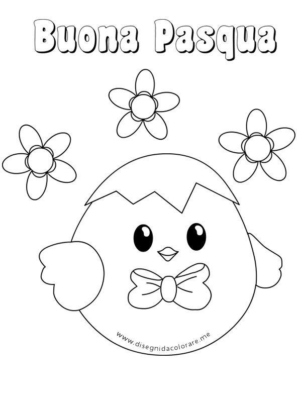 Disegni di pasqua da colorare pulcino con fiocco disegni for Disegni da colorare di pasqua