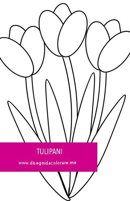 Tulipani Da Colorare Per Bambini.Tre Tulipani Con Foglie Da Stampare Disegni Da Colorare