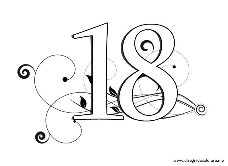 Numero 18 disegni da colorare - Numeri per tavoli da stampare ...