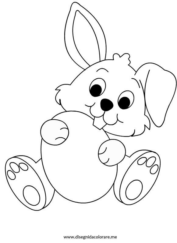 Coniglio con uovo di pasqua disegni da colorare for Disegno coniglio per bambini