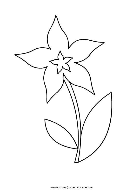 Fiore con foglie disegni da colorare for Fiori da disegnare facili