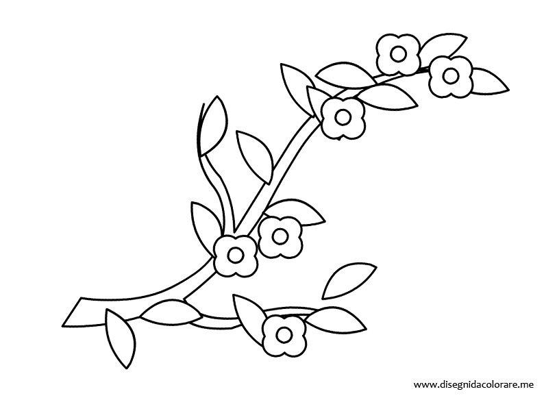 Disegni di primavera ramo con fiori disegni da colorare for Uccellino disegno