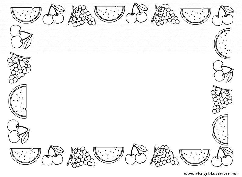 Cornicetta con frutta disegni da colorare - Colorare le pagine di verdure ...