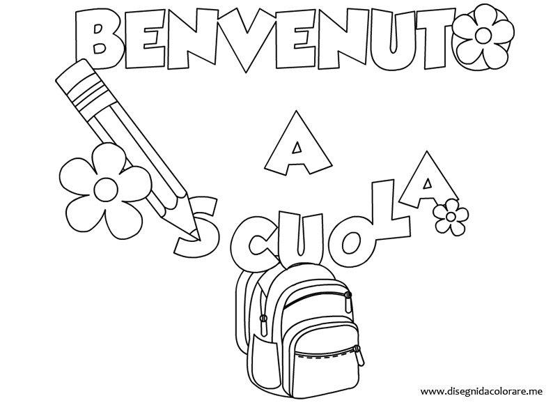 Scritta benvenuto a scuola disegni da colorare - Indietro a scuola foglio da colorare ...