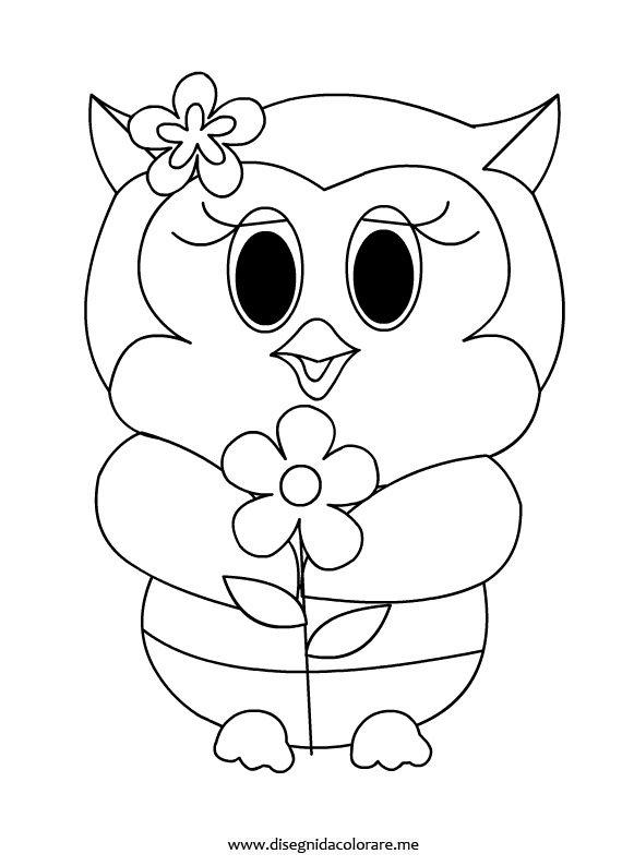Gufetta con fiore disegni da colorare for Immagini tigre da colorare