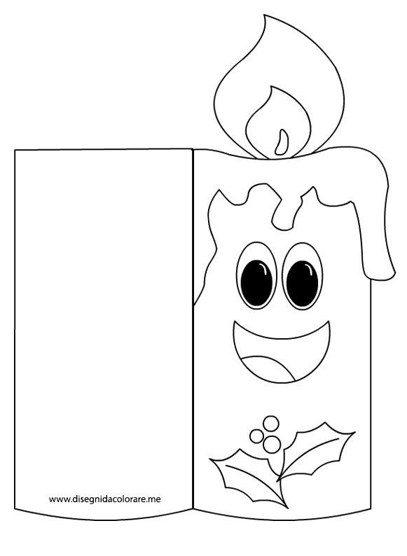 Biglietto di natale da colorare candela disegni da for Bigliettini di natale da colorare