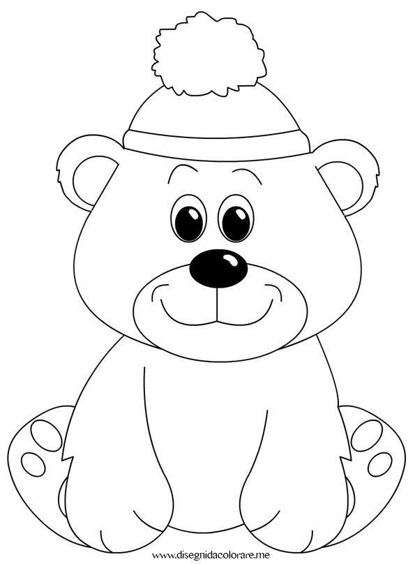 Orsetto con cappello di lana disegni da colorare for Cappello disegno da colorare