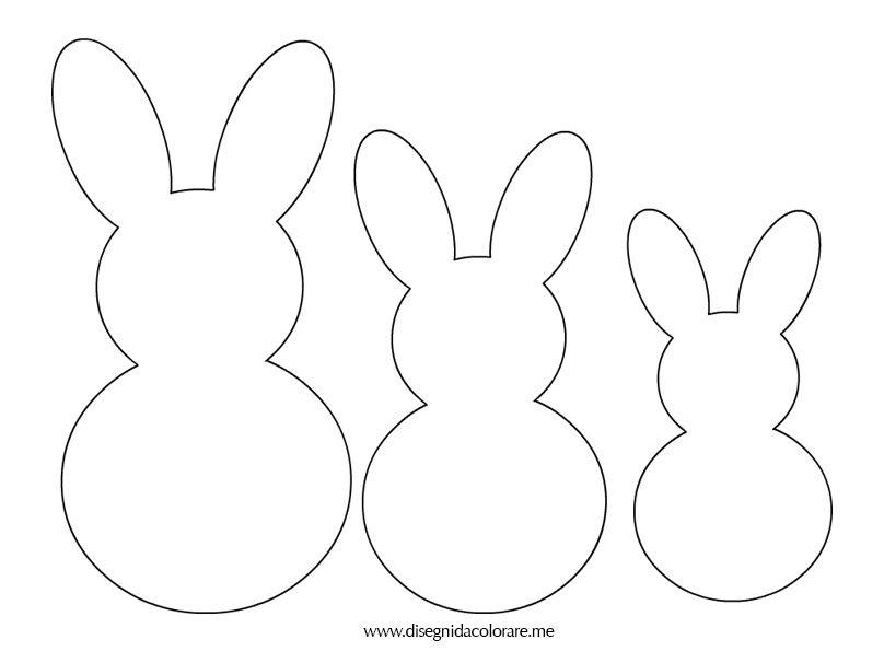 Sagome pasqua conigli disegni da colorare for Disegno coniglio per bambini