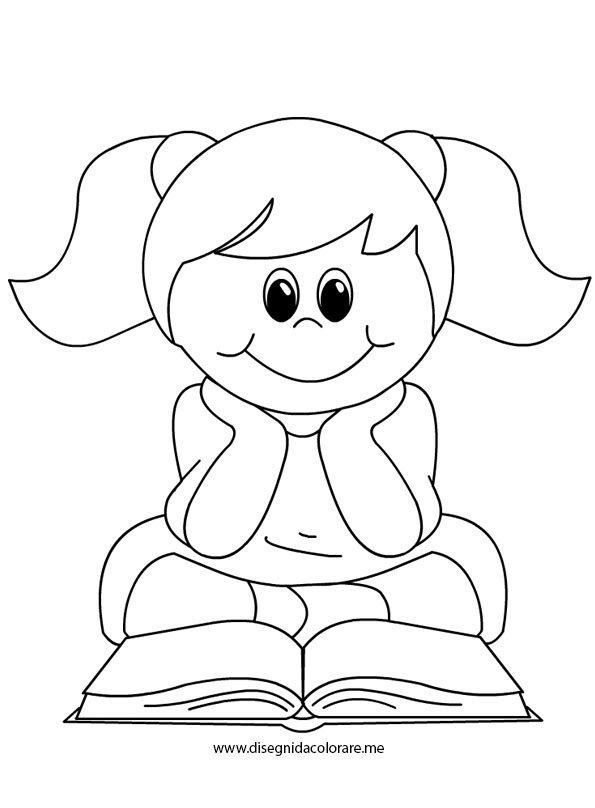 Bambina che legge un libro disegni da colorare - Toddler libro da colorare ...
