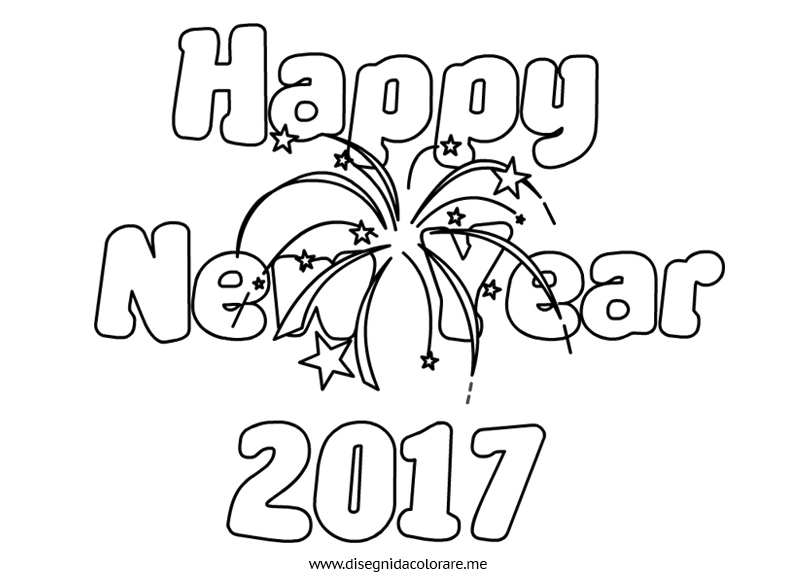 Happy New Year 2017 da colorare